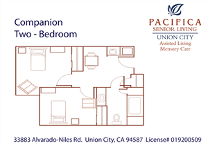 Companion Two Bedroom Floor Plan at Pacifica Senior Living Union City, Union City, 94587
