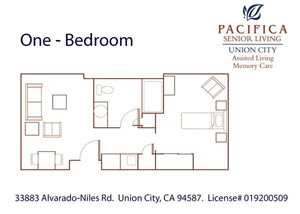 Spacious One Bedroom Floor Plan at Pacifica Senior Living Union City, Union City, California