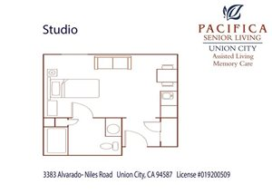 Private Studio Floor Plan at Pacifica Senior Living Union City, California