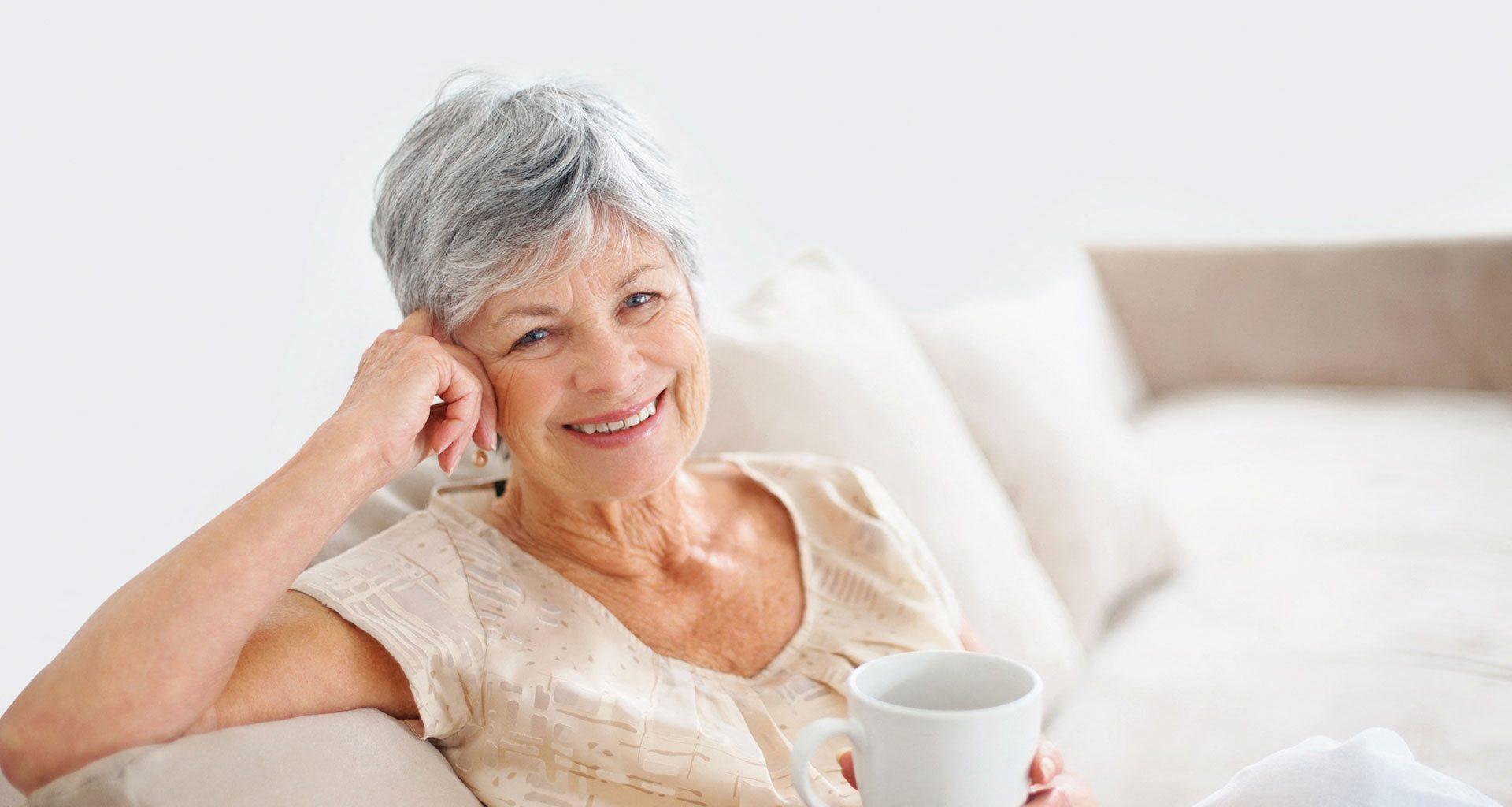 Senior Woman Enjoying A Coffee at Pacifica Senior Living Union City, Union City, CA, 94587