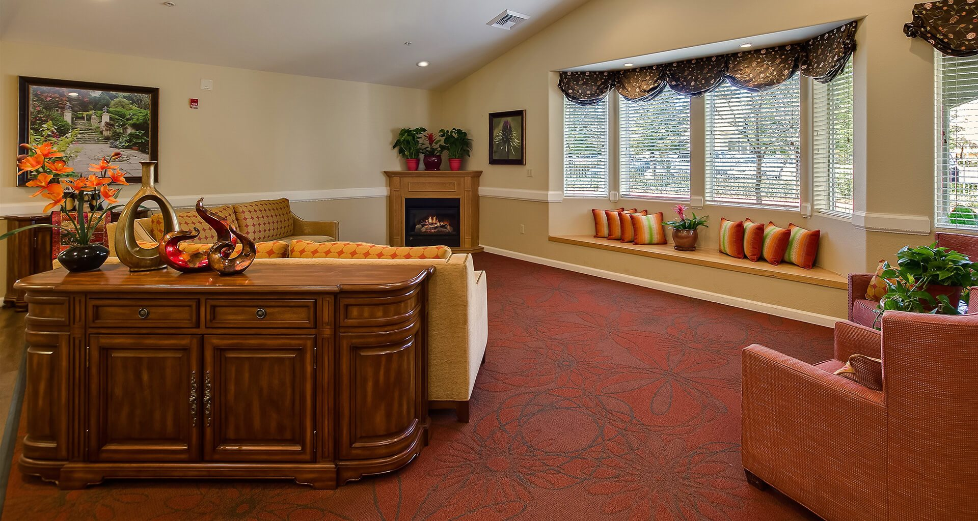 Decorated Lounge Area With Fireplace at Pacifica Senior Living Vacaville, Vacaville, CA, 95687