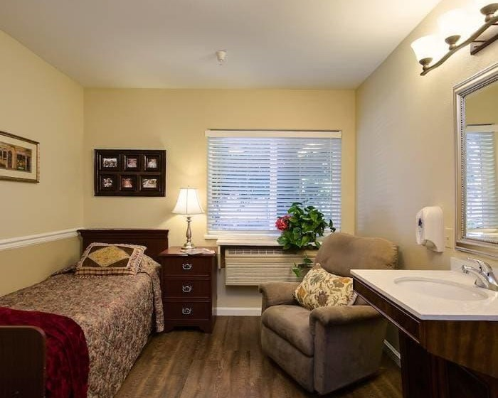 Senior apartment bedroom at Pacifica Senior Living Vacaville in Vacaville, Solano County, California