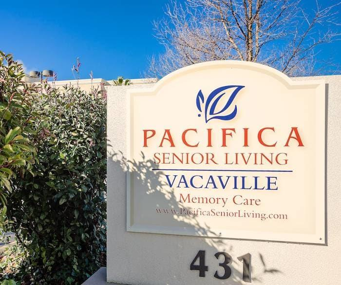 Entrance sign to our senior living community in at Pacifica Senior Living Vacaville in Vacaville, California