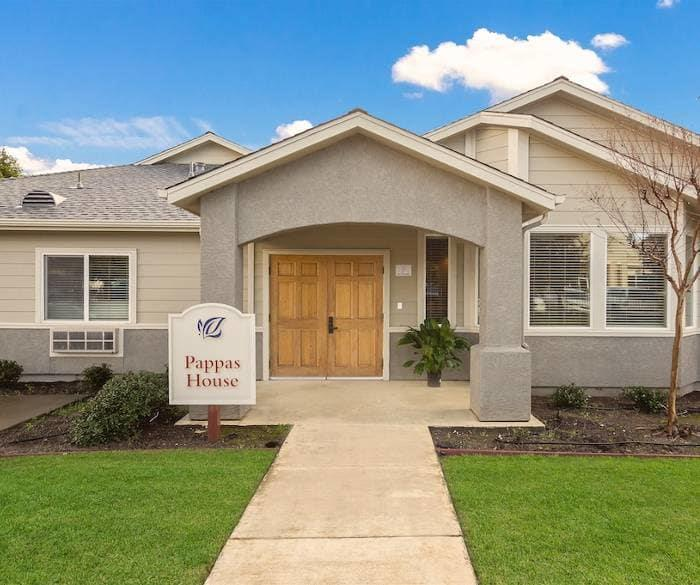 Beautiful front view of one of our senior living community buildings at Pacifica Senior Living Vacaville in Vacaville, California
