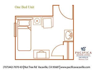 Private One Bed Unit Floor Plan at Pacifica Senior Living Vacaville, Vacaville, 95687