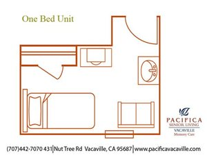 Private One Bed Unit Floor Plan at Pacifica Senior Living Vacaville, Vacaville, California
