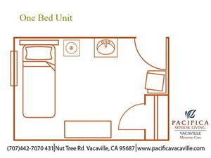 Memory Care One Bed Unit Floor Plan at Pacifica Senior Living Vacaville, Vacaville
