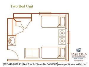 Two Bed Unit Floor Plan at Pacifica Senior Living Vacaville, Solano County, California