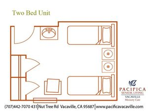 Two Bed Unit Floor Plan at Pacifica Senior Living Vacaville, California, 95687
