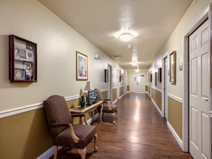 Quaintly Decorated Apartment Living Room at Valley Crest Memory Care, California