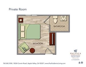 Private Room Floor Plan at Valley Crest Memory Care, California
