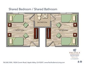 Shared Room Shared Bath Floor Plan at Valley Crest Memory Care, Apple Valley, CA, 92307