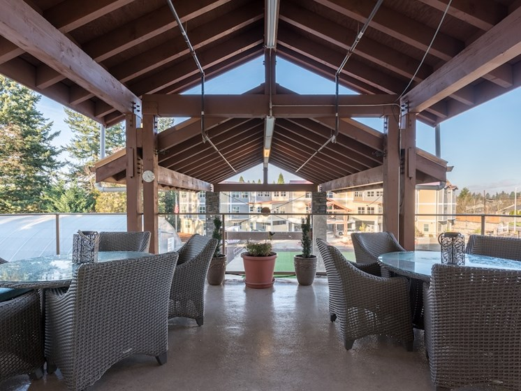 Grand Lounging Area Outdoors at Pacifica Senior Living Vancouver, Washington, 98684