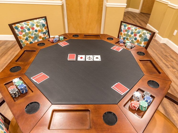 Poker Table and Chips and Cards at Pacifica Senior Living Vancouver, WA