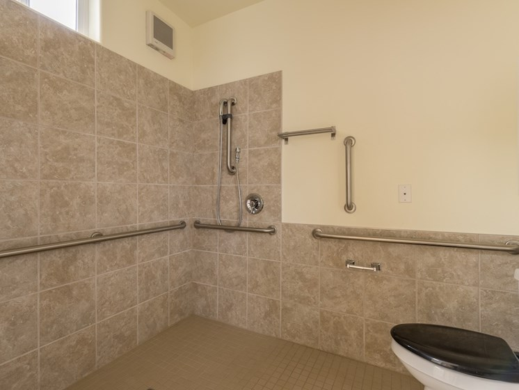 Huge Walk-in Shower with Assisted Handrails at Pacifica Senior Living Vancouver, WA