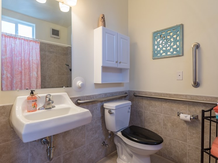 Spacious Bathroom with Handrails at Pacifica Senior Living Vancouver 98684