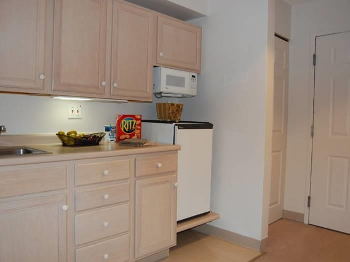 Senior apartment kitchen at Pacifica Senior Living Victoria Court in Cranston, RI