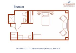 Brenton Floor Plan at Pacifica Senior Living Victoria Court, Cranston, RI, 02920
