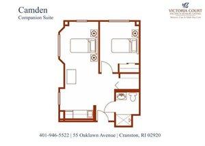 Camden (Companion) AL Floor Plan at Pacifica Senior Living Victoria Court, Cranston, RI