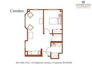 Camden Floor Plan at Pacifica Senior Living Victoria Court, Cranston, Rhode Island
