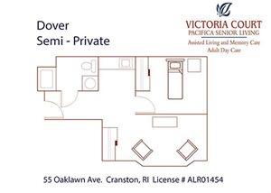 Dover Floor Plan at Pacifica Senior Living Victoria Court, Rhode Island