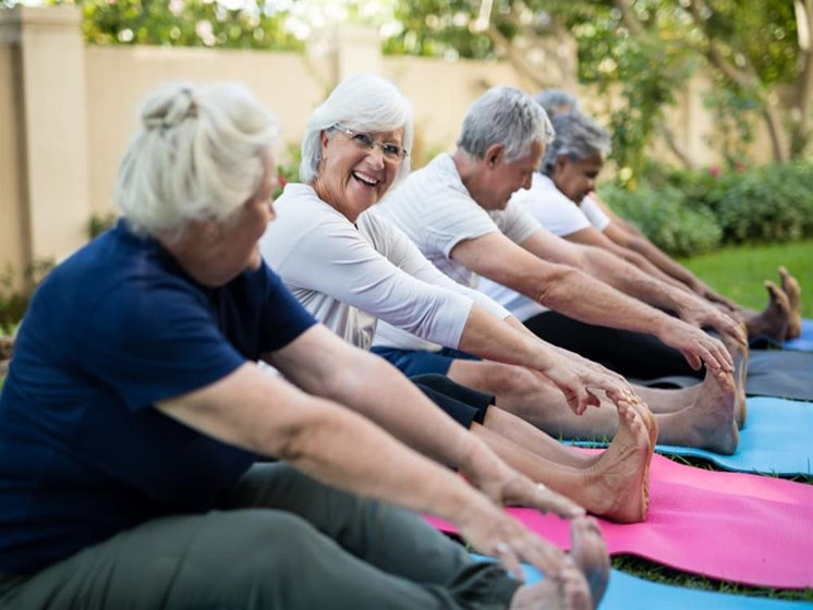 Senior residents doing exercises at Pacifica Senior Living Vista in Vista, California