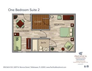 One Bedroom Suite 2 Floor Plan at Pacifica Senior Living Woodmont, Florida