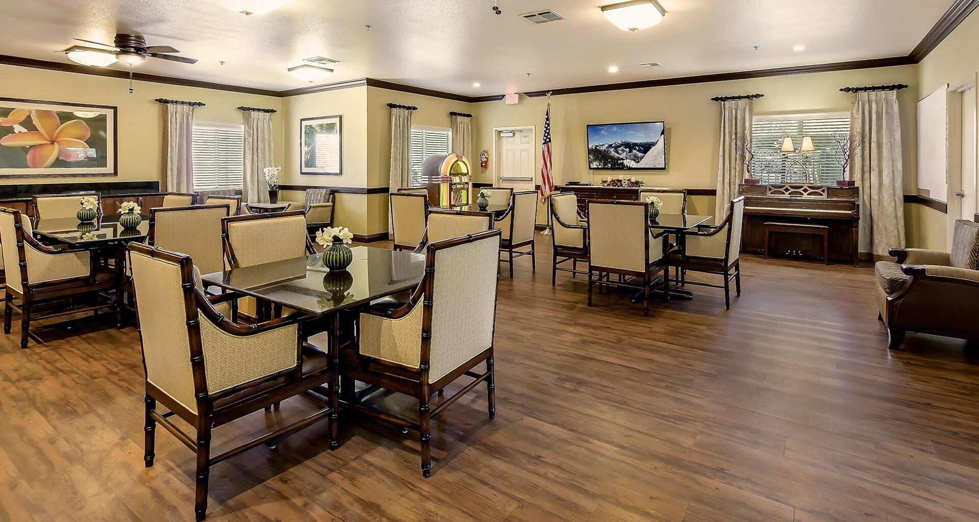 Well Balanced Social Calendar and Formal Dining Room at Pacifica Senior Living: Riverside Legacies Memory Care, Riverside, 92509