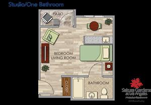 Studio / 1 Bathroom Floor Plan at Pacifica Senior Living, Sakura Gardens, Los Angeles, California