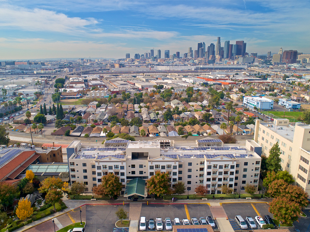 Aerial View of Buildings at Pacifica Senior Living, Sakura Gardens of Los Angeles, Los Angeles