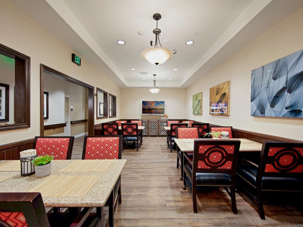 Restaurant Style Dining Room at Pacifica Senior Living, Sakura Gardens of Los Angeles, Los Angeles, California