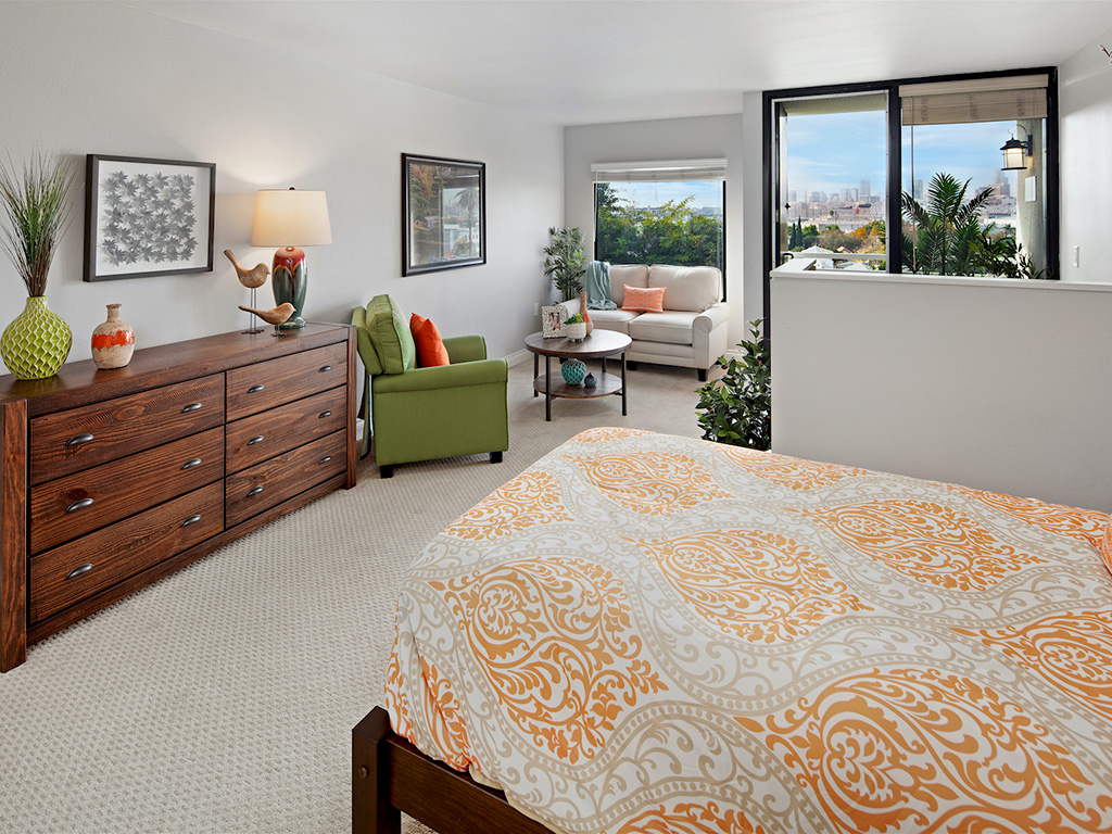 Well Decorated Bedroom With Plenty Of Natural Lights at Pacifica Senior Living, Sakura Gardens of Los Angeles, Los Angeles, CA, 90033