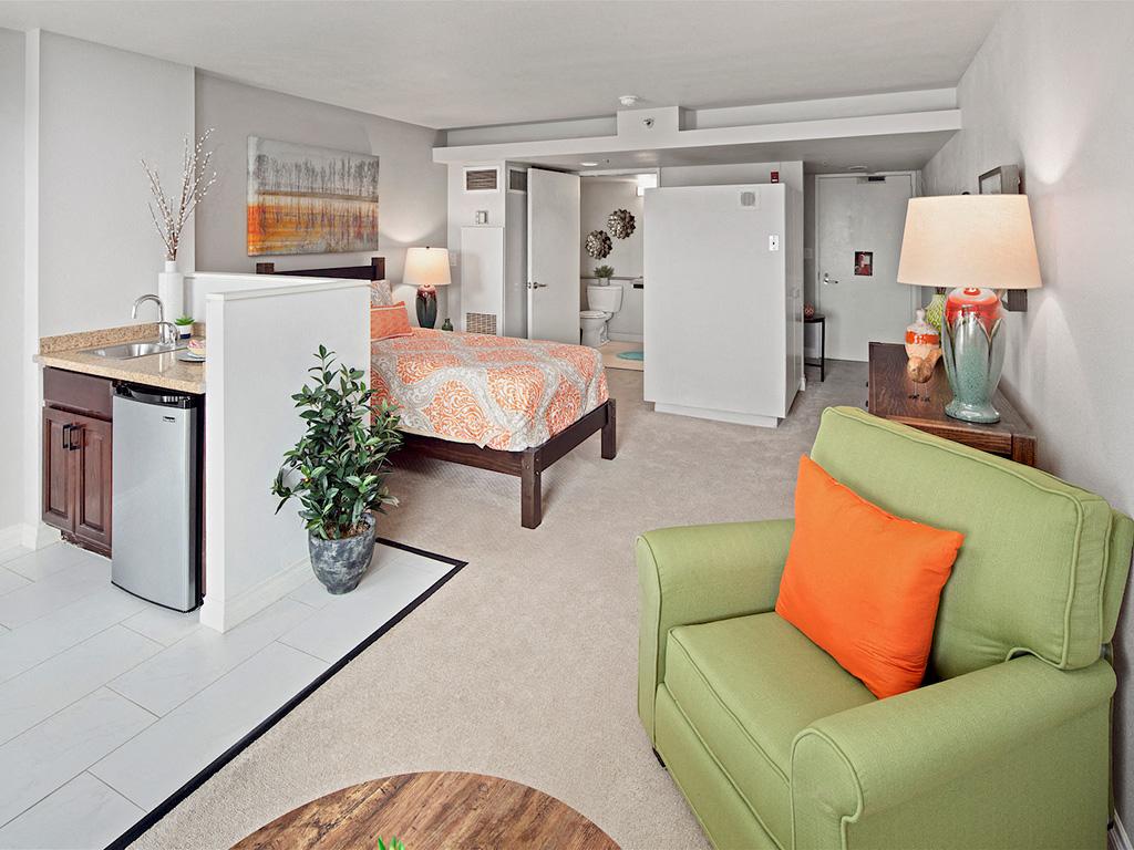 Contemporary Living Room at Pacifica Senior Living,Sakura Gardens of Los Angeles, Los Angeles, CA