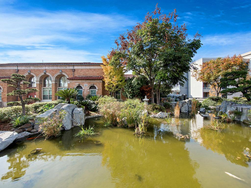 Lake With Lush Natural Surrounding at at Pacifica Senior Living,  Sakura Gardens of Los Angeles, Los Angeles, California