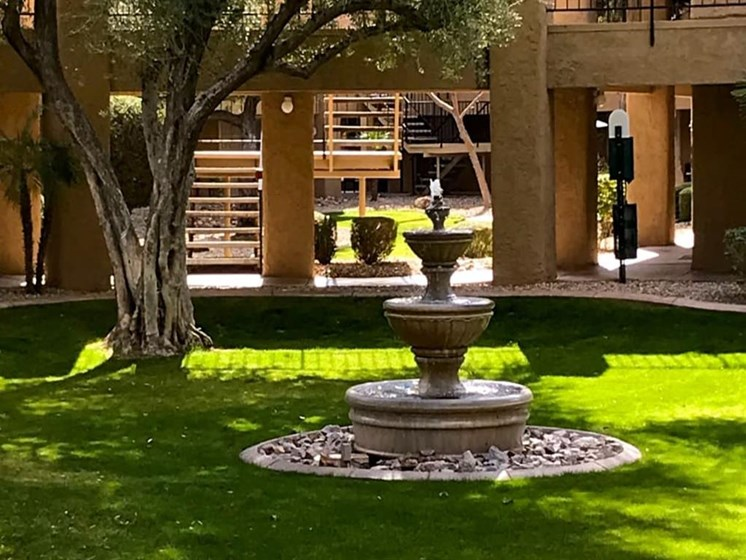 Peaceful fountain at Scottsdale Village Square, A Pacifica Senior Living Community in Scottsdale, Arizona