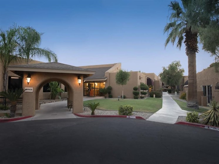 Exterior at Sunset of Scottsdale Village Square, A Pacifica Senior Living Community in Scottsdale, Arizona