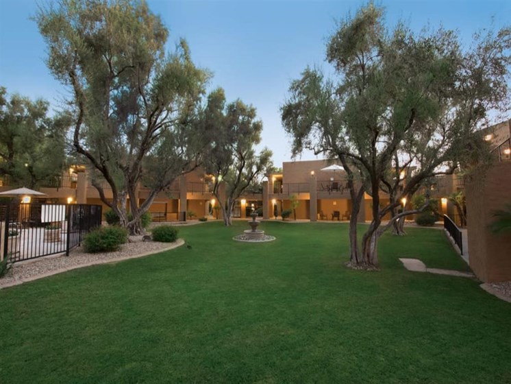 Beautiful landscaped view outside Scottsdale Village Square, A Pacifica Senior Living Community in Scottsdale, Arizona