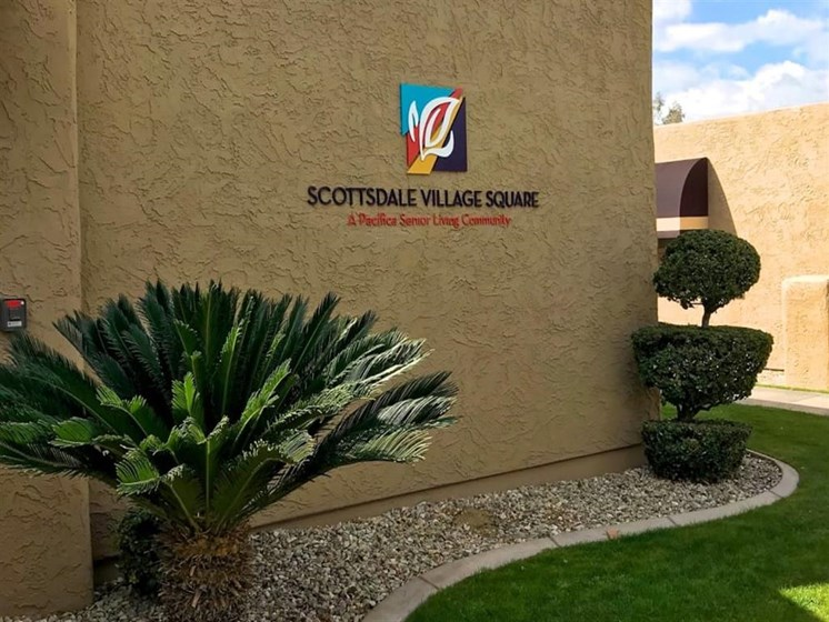 Exterior Signage at Scottsdale Village Square, A Pacifica Senior Living Community in Scottsdale, Arizona