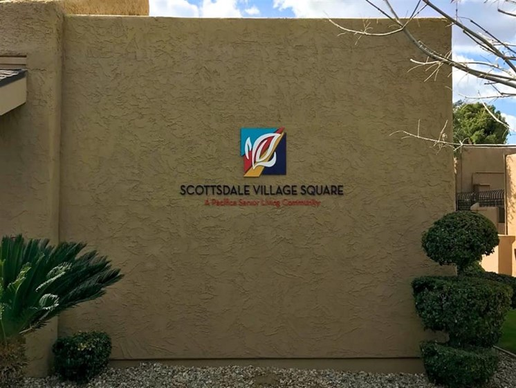 Signage at Scottsdale Village Square, A Pacifica Senior Living Community in Scottsdale, Arizona