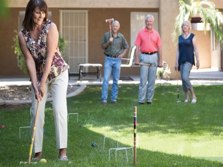 Recreational activities at Scottsdale Village Square, A Pacifica Senior Living Community in Scottsdale, Arizona