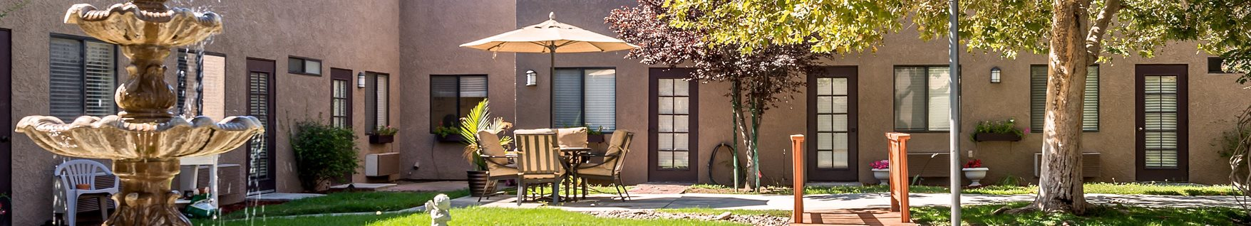 Lush Courtyards with Trickling Fountains at Sierra Vista Independent and Assisted Living, California