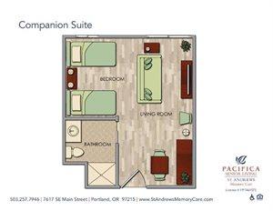 Spacious Companion Suite Floor Plan at St. Andrews Memory Care, Oregon, 97215