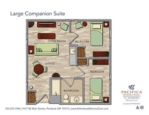 Large Companion Suite Floor Plan at St. Andrews Memory Care, Portland, OR, 97215
