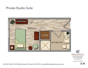 Private Studio Suite Floor Plan at St. Andrews Memory Care, Portland, OR