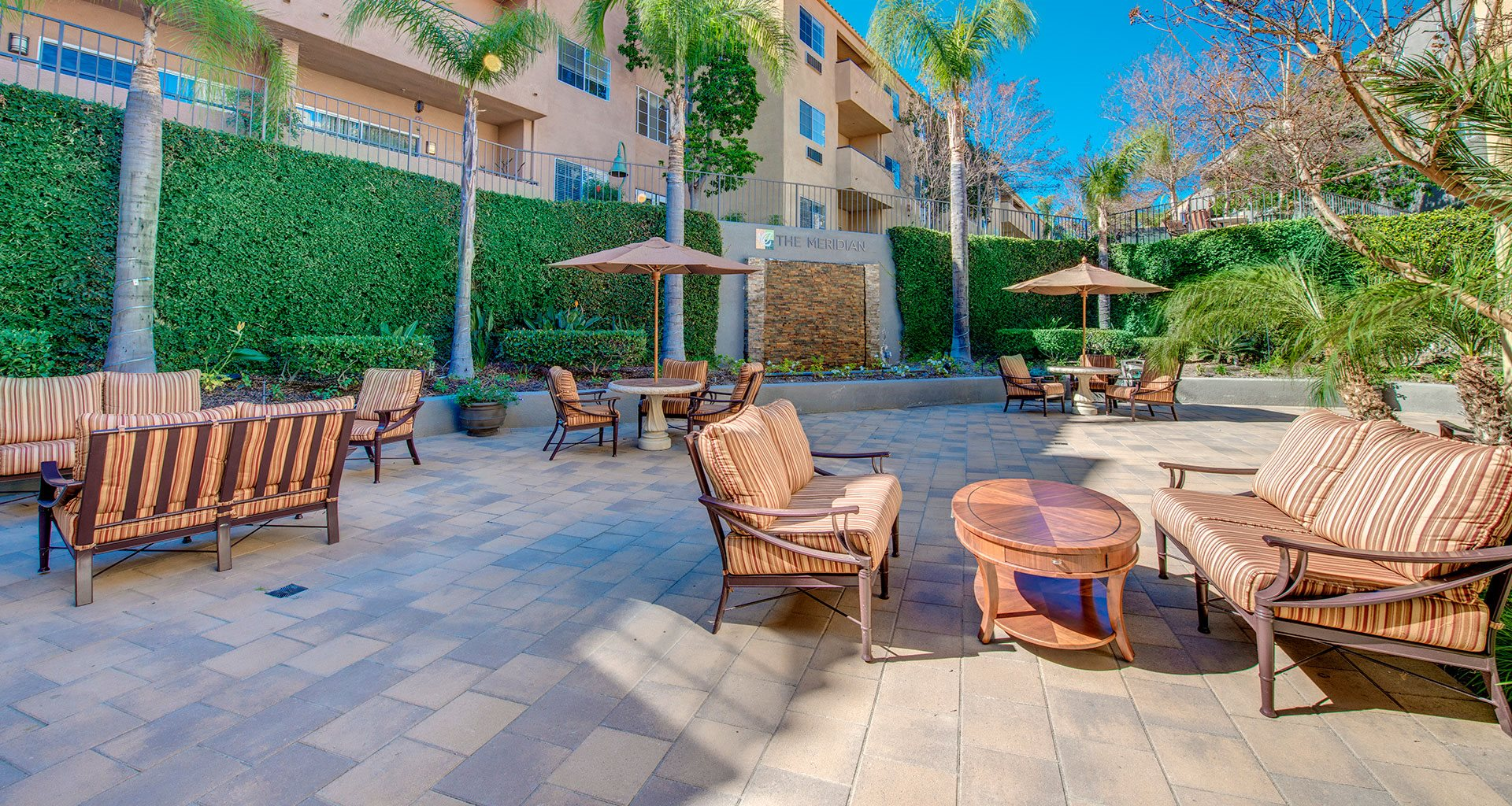 Courtyard Patio With Ample Sitting at Meridian at Anaheim Hills, Anaheim, California