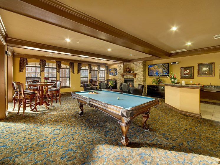 Game Room With Pool Table at Meridian at Kessler Park, Dallas, TX, 75211