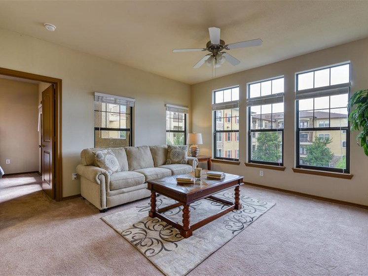 Apartment living room, couch and coffee table, carpeted floors