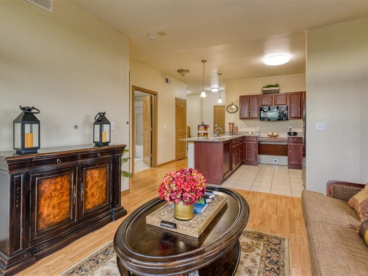 Apartment living room, coffee table, hardwood floors