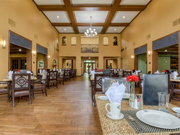 The beautiful dining room at The Meridian at Kessler Park