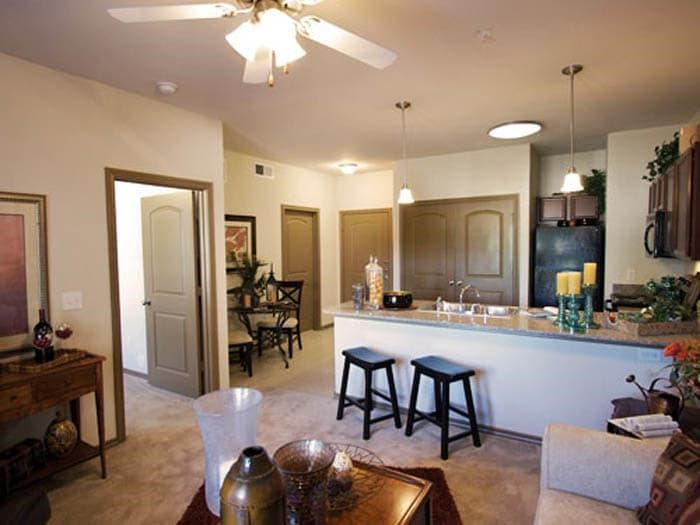 Well decorated apartment kitchen at Meridian at Kessler Park